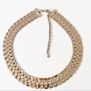 Gold Tone Chain Collar Statement Necklace Slinky